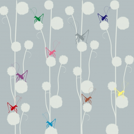 Wallpaper - with grasshoppers and dandelions
