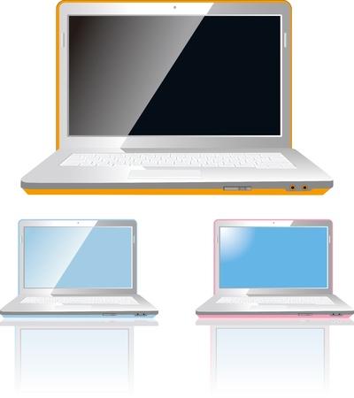 Векторные иллюстрации ноутбук, изолированных на белом фоне EPS 8