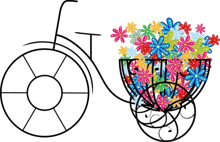 illustration of bike with flowers  Vector