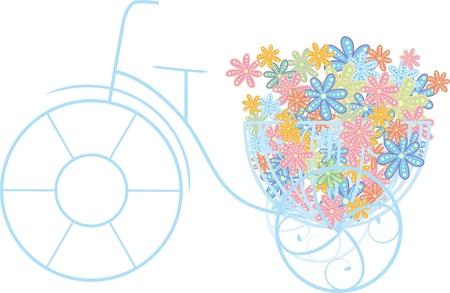 bicicleta retro: bicicleta y flores Vectores