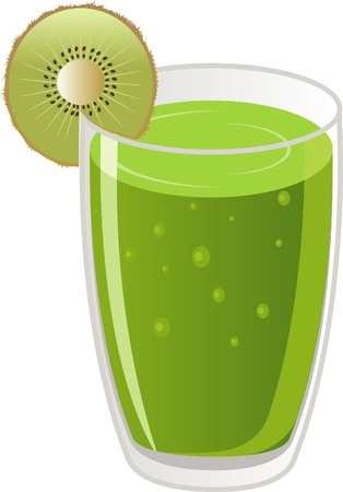 Kiwi fruit and a glass of fruit juice