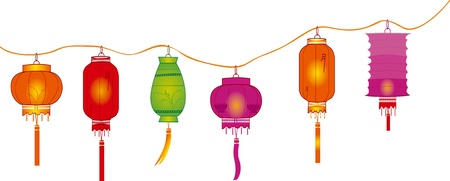 string of bright hanging lantern decorations on white  Vector