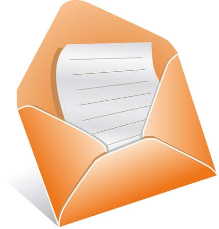 Illutration of open envelope with letter, vector