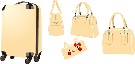 trolley case, suitcase, wallet, wrapped Illustration