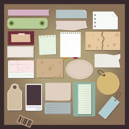 Коллаж: а разные объекты бумажные Иллюстрация