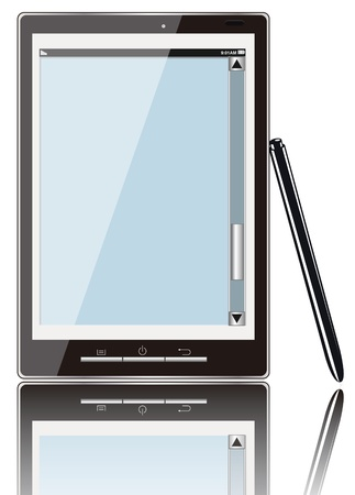 Realistic mobile phone with blank screen isolated on white background Illustration