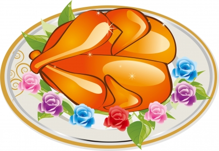 Whole roast chicken in a plate, and many rose, illustrator- you can edit layers Stock Vector - 15851822