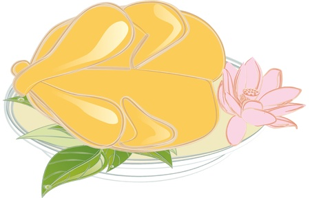 Whole roast chicken in a plate, illustrator- you can edit layers