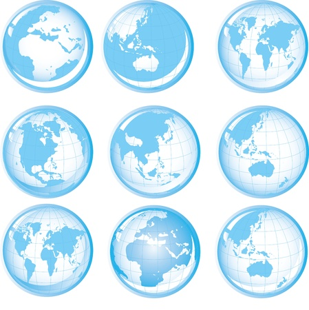 Set of blue buttons with Earth globes Vector
