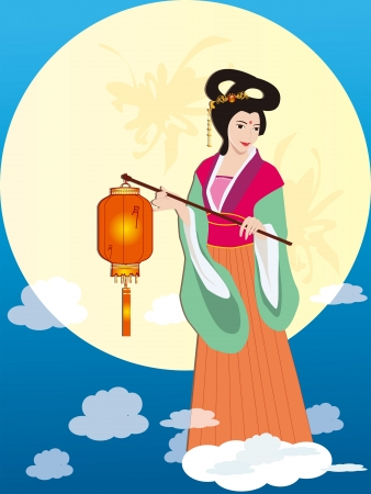 Mid Autumn Festival - Asian Fairy Lady with lantern in Mid Autumn Festival  Moon Festival   Vector