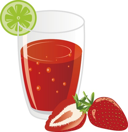 Lemon slices, a cup of fresh strawberry juice  Stock Vector - 15957314