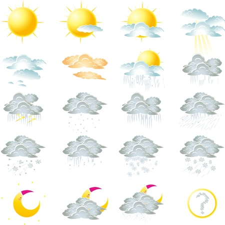 illustration of Weather icons Set Stock Vector - 15957411