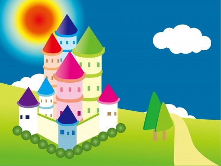 Castle on the prairie under the sun Vector