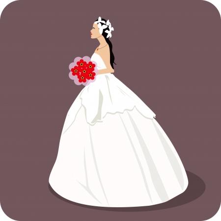 warm clothing: wedding, Bride with flowers