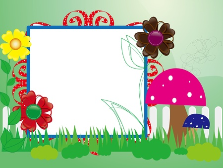 garden fence: Baby scrapbook for the fence, flowers and mushrooms