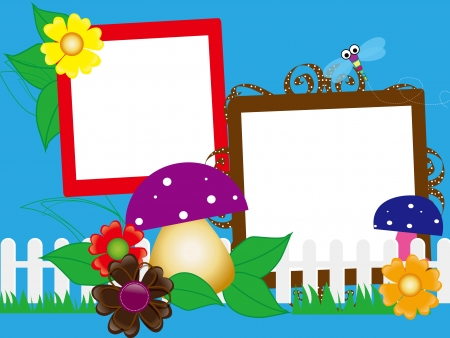 Baby scrapbook for the fence, flowers and mushrooms Stock Vector - 16018583