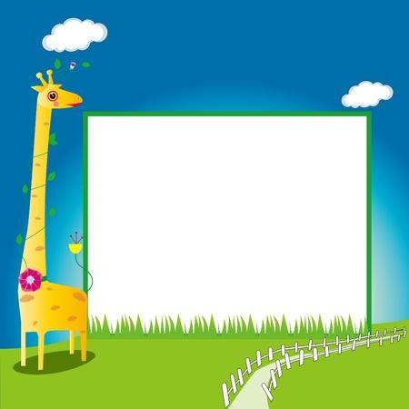 Children s photo framework Stock Vector - 16018576