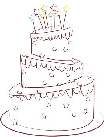 birthday cake isolated on white  Vector