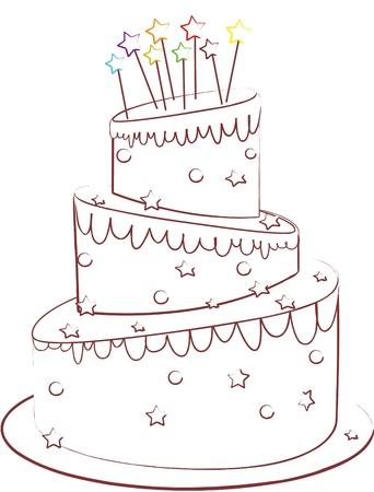 cremoso: bolo de aniversário isolado no branco