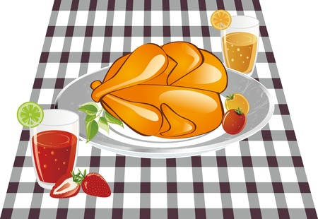 Delicious roast chicken is placed on the table linen