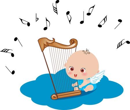 angeles bebe: un ángel flotando en la nube azul que sostiene una arpa