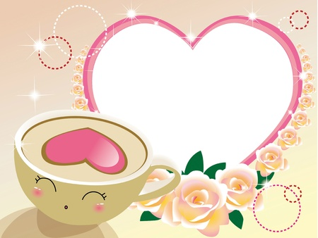 Beautiful children frame, with roses and smiles cup  Vector