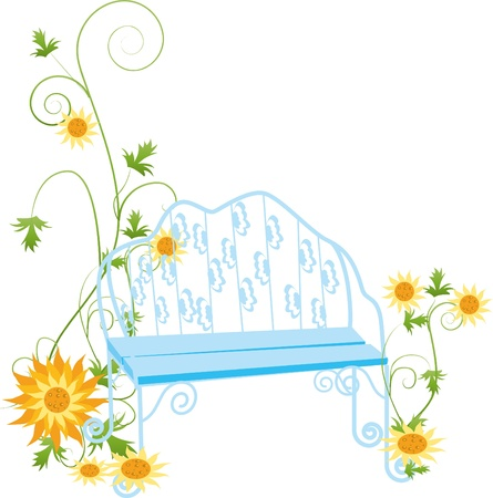 Yellow sunflowers and the princess chair  Stock Vector - 16183933