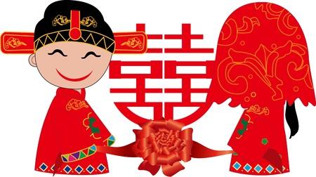Chinese bruiloft Vector Illustratie