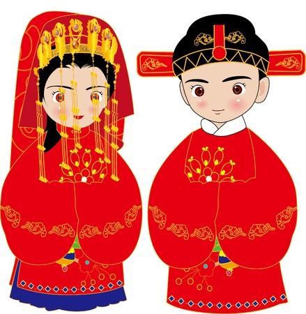 heterosexual: boda china Vectores