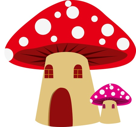 Dwarfs in the fairy tale mushroom house  Vector