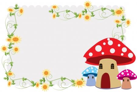 Детский S альбом, в том числе красивый цветок и грибов дома Иллюстрация