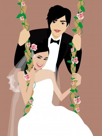 asian wedding couple: wedding