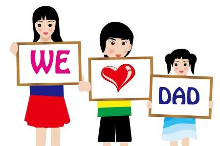Дети pinting для дня отца сек Иллюстрация