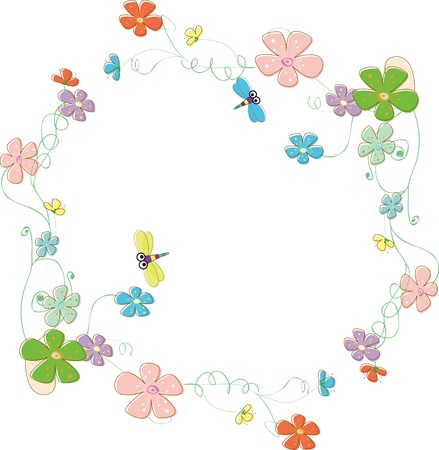 Fantasy garden photo frame surrounded by flowers and dragonfly Vector