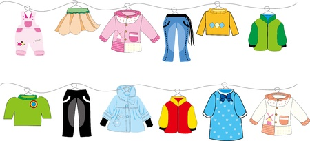 clothes peg: baby clothes on clothes line Illustration