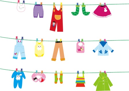 clothes pegs: baby clothes on clothes line Illustration