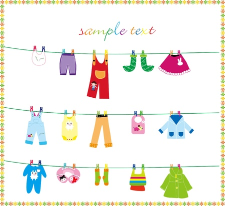 baby clothes on clothes line Stock Vector - 16298307