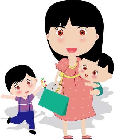 Pregnant mother with two kids Illustration