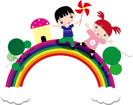Illustration of children and rainbow