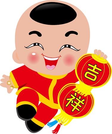 chinese cartoon: New Year Greetings_Girl Illustration
