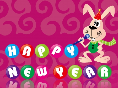 Rabbit singing to celebrate the New Year, greeting cards Vector