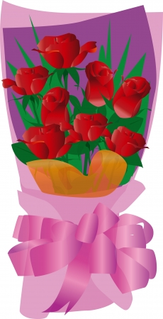 seduction: A bouquet of roses in full bloom Illustration