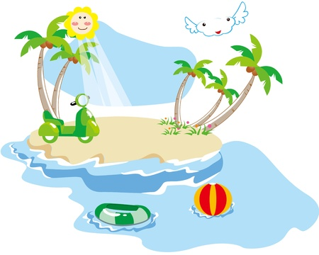 Beautiful beaches, beach car, the beach ball, swimming ring Vector
