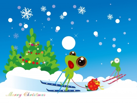 greeting cards,frog Sliding to Gift delivery Vector