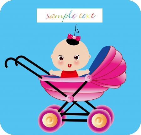 Baby girl arrival Illustration