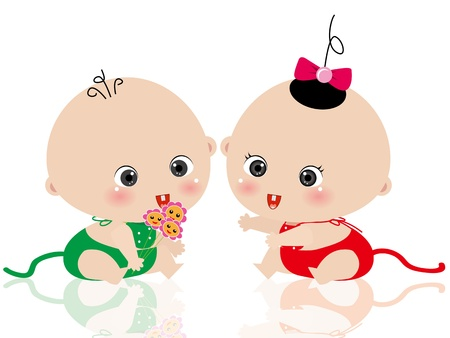 baby illustration: a baby boy give flowers to girl