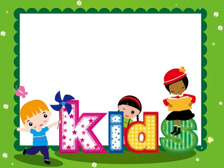 KIDS AND FRAME FOR GIRL Vector