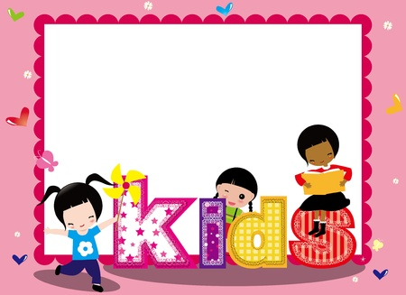 KIDS AND PINK FRAME FOR GIRL Stock Vector - 16554095