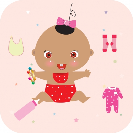 baby, clothing toy and bottle Vector