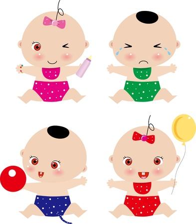 lactancia materna: cuatro beb� Vectores